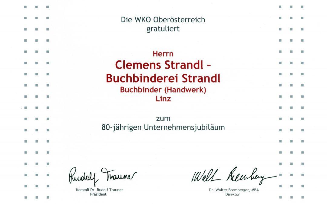 Urkunde für 80-jähriges Unternehmens-Jubiläum