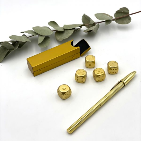 Würfel Kugelschreiber Gold