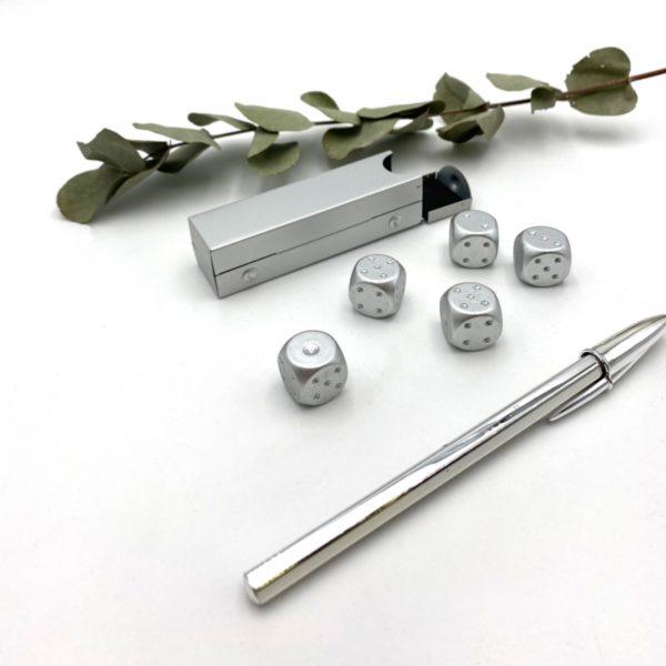 Würfel Kugelschreiber Silber